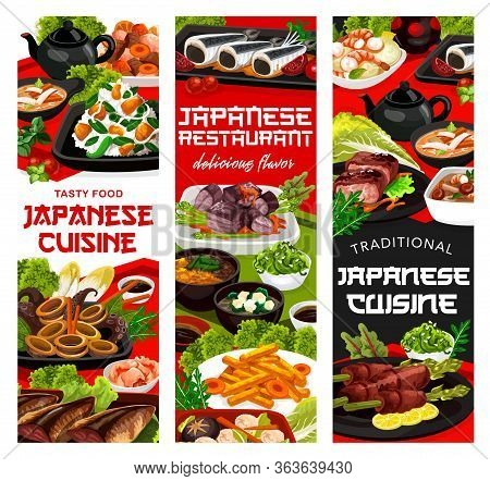 Japanese Cuisine Food, Traditional Dishes And National Dinner And Lunch Meals. Japanese Restaurant A
