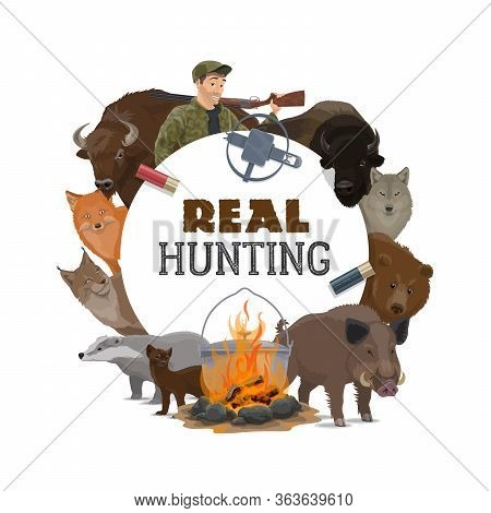 Hunt Club Opens Season, Vector Poster With Wild Animals And Hunting Ammo Equipment. Hunter With Rifl