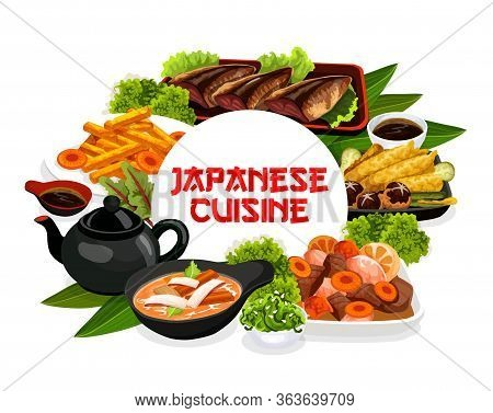 Japanese Cuisine Food Dishes, Authentic Restaurant Vector Menu, Traditional Breakfast, Lunch And Din