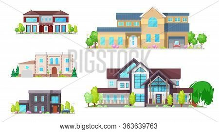 Private Houses And Homes, Residential Real Estate Vector Icons. Family House, Villas, Mansions And C