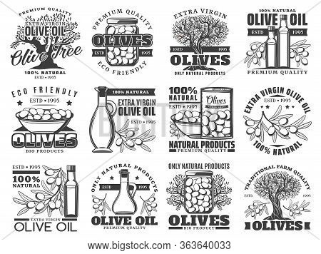 Olive Oil, Vector Labels, Olives Farm Products Icons. Extra Virgin Olive Oil In Bottle And Jug, Pick