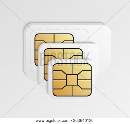 Blank Sim Cards In Different Sizes. Standard, Micro And Nano Phone Card.