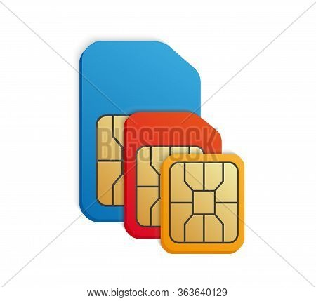Realistic Colored Sim Card Set. Standard, Micro, Nano -different Phone Card Types.
