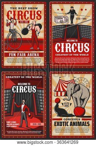 Circus And Funfair Arena Show, Vector Vintage Retro Posters. Welcome To Circus Shapito Performance W