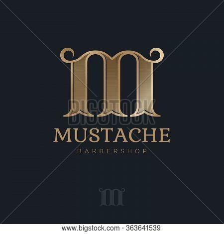 M Monogram With Curl Elements. Barbershop Logo. Golden Letter M With Mustache. Male Salon Logo. Prem