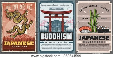Japan Travel, Japanese Culture Traditions And Religion, Vintage Vector Posters. Buddhism Temples And