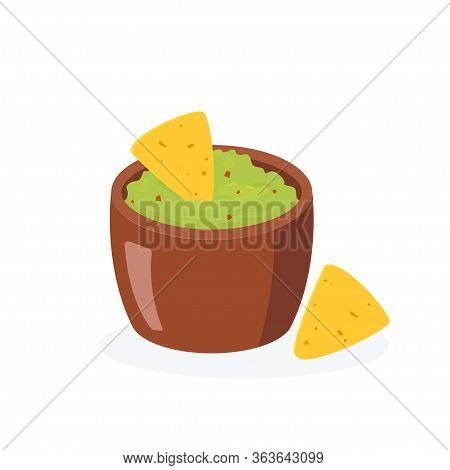 Traditional Mexican Food. Brown Bowl Of Guacamole And Nachos. Flat Illustration On White Background