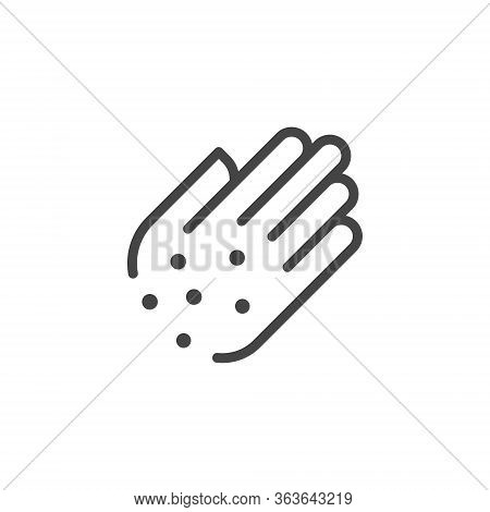 Premium Icon Of Hand With Irritate. Skin Diseases, Psoriasis, Allergies, Itching, Eczema Line Label.