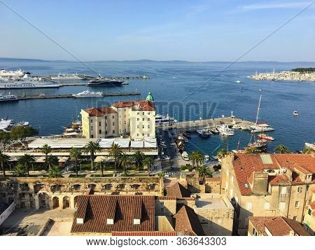 Split, Croatia - July 7th, 2019: A View Overlooking The Port Of Split And The Adriatic Sea In The Di
