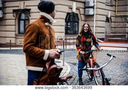 Mirthful Lady Cycling And Suddenly Meeting Her Boyfriend