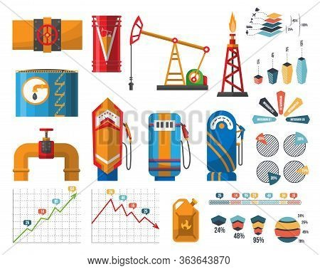 Infographic Petroleum Elements. Process Of Oil Production And Petroleum Refining. Oil Rig. Fuel. Gas