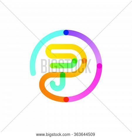 P Letter Logo In A Rainbow Gradient Circle. Impossible One Line Style. Perfect Colorful Icon For Dig