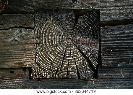 A Fragment Of The Wall Of An Old Wooden Building In The Village With The End Of A Hewn Log. The Surf