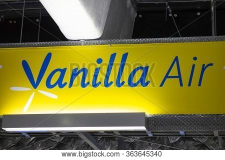 Tokyo, Japan - April 8, 2015: Vanilla Air sign. Vanilla Air was a low-cost airline in Japan wholly owned by All Nippon Airways.
