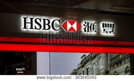 Hong kong - April 8, 2015: HSBC bank sign. HSBC is one of largest bank groups.