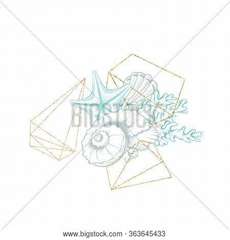 Seashell Sketch In Gold Geometric Crystal Circle Frame, Vector Arrangement Design. Ocean Seashell An