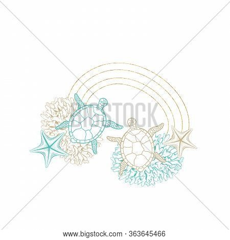Turtle Sketch In Gold Geometric Crystal Line Frame, Vector Arrangement Design. Ocean Seashell And Co