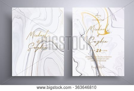 Vector Wedding Invitation With Marble Pattern. Golden, Black And White Overflowing Colors. Beautiful