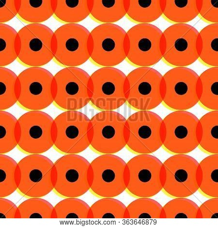Memphis Festive Ogange Circle Or Button On White Background. Circles In Memphis Style. Geometric Psy