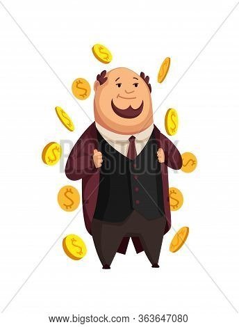 Vector Cartoon Rich People. Image Of A Funny Fat Man Capitalist In A Black Suit On A White Backgroun