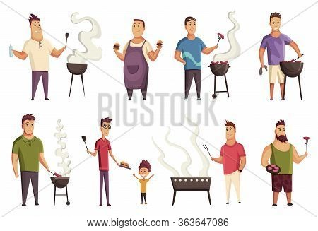 Set Of Character On Bbq Party. Mans With A Barbecue Grill. Picnic With Fresh Food Steak And Sausages