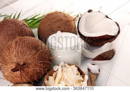 Coconut Products With Fresh Coconut, Coconut Flakes, Coconut Spa Oil. Ripe Coconut Fruits