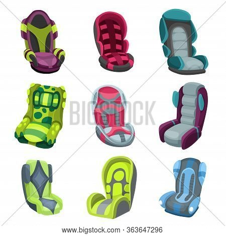 Collection Of Baby Car Seats Cartoon Flat Style. Safety Baby Seat Vector Illustration Isolated On A