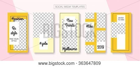 Social Stories Cool Vector Layout. Online Shop Abstract Invitation Brand. Trendy Sale, New Arrivals