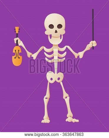Funny Cartoon Skeleton Posing Holding A Violin And A Bow In His Hands. Vector Bony Character. Human