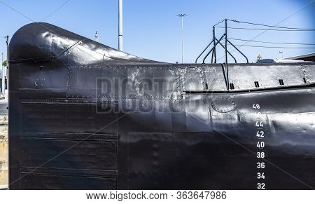 Cacilhas, Portugal - September 07, 2019: Detail Nrp Submarine Barracuda Bow, Built In 1967, Today In
