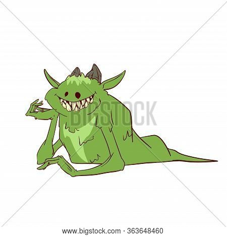 Colorful Vector Illustration Of A Cartoon Boogeyman, Monster Or A Demon
