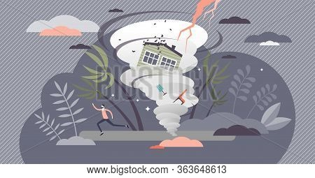 Hurricane Vector Illustration. Tropical Cyclone Flat Tiny Persons Concept. Dangerously Strong Whirlp