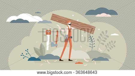 Carpenter Vector Illustration. Wood Construction Occupation Flat Tiny Persons Concept. Maintenance S