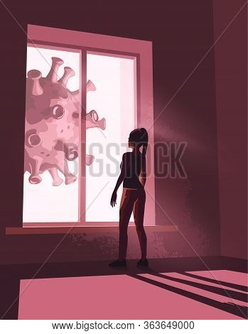 A Women Staring Out Of Her Window While In Self-isolation Watching As A Huge Virus Moves Past Her Wi