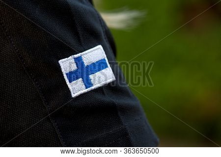 Flag Of Finland On Military Uniform. Army, Troops, Soldiers. Collage.