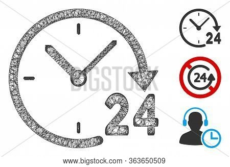 Mesh 24 Hours Clock Polygonal Web Icon Vector Illustration. Carcass Model Is Based On 24 Hours Clock