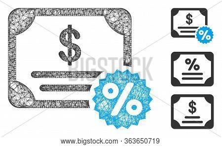 Mesh Bond Coupon Polygonal Web Icon Vector Illustration. Model Is Based On Bond Coupon Flat Icon. Tr