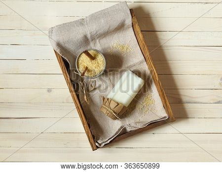 Rice Milk In A Bottle On A Wooden Tray, Top View, Light Wooden Background