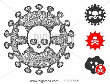 Mesh Deadly Virus Polygonal Web Icon Vector Illustration. Carcass Model Is Based On Deadly Virus Fla
