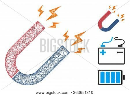 Mesh Magnet Power Polygonal Web 2d Vector Illustration. Abstraction Is Based On Magnet Power Flat Ic