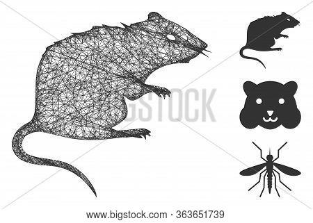 Mesh Rat Polygonal Web Icon Vector Illustration. Carcass Model Is Based On Rat Flat Icon. Triangular