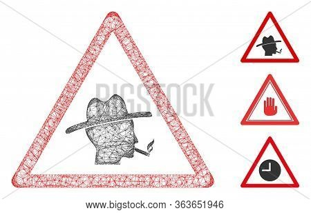 Mesh Smoker Warning Polygonal Web Icon Vector Illustration. Carcass Model Is Created From Smoker War