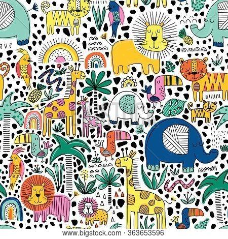 Safari Animals Kids Seamless Pattern. Repeating Background With Line Art Lion, Elephant, Tiger, Gira
