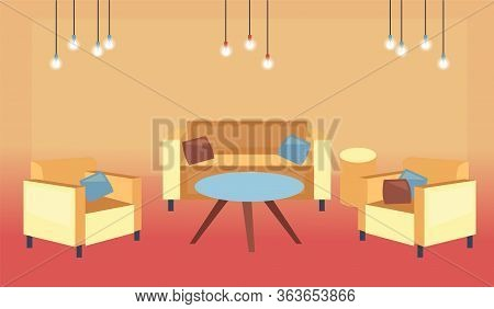 Concept Of Interiors. Modern Living Room Interior With Furniture. Modern Cozy Spacious Loft Lounge R