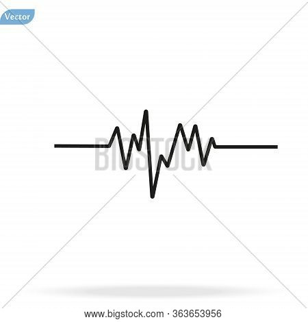 Pulse Heart Rate Vector Icon In Flat Style. Heart Rate, Pulse Beat Frequency Icon, Health Chart, Wav