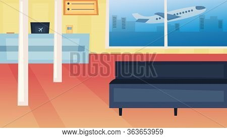 Concept Of Airport. Empty Airport Terminal With Reception Desk, Timetable Of Flights Waiting Hall Wi
