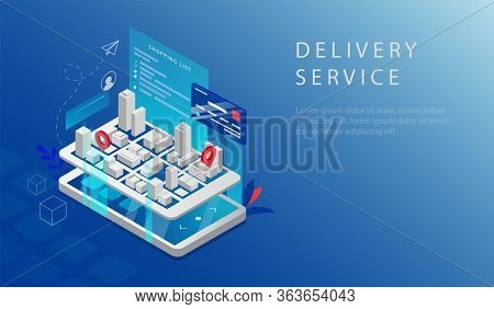 Isometric Concept Of Professional Fast Delivery Service. Website Landing Page. Big Smartphone With C