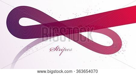 Abstract Elegant Red Curvy Thin Lines Vector Abstract Background, Elegant Light Stripy Design Elemen