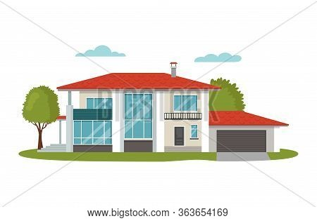 Modern House Vector Illustrations. Cartoon Flat Home Apartment, Facade Exterior Of Residential Build