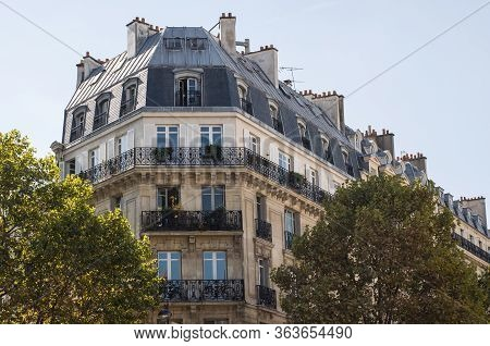 Typical Parisian Architecture. The Facade With French Balconies.